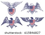 Set Of The Emblems With Eagles...