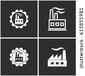 factory vector icons set.... | Shutterstock .eps vector #615851981