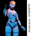 a cyborg with a gun. 3d render | Shutterstock . vector #615858791