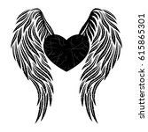 heart with wings. | Shutterstock .eps vector #615865301