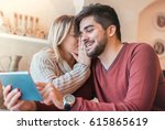 dating in the cafe. beautiful... | Shutterstock . vector #615865619