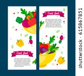 set of banners vegetables in a... | Shutterstock .eps vector #615867851