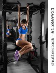 sexy hot brunette fitness... | Shutterstock . vector #615869921