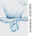 transparent vector water splash ... | Shutterstock .eps vector #615872894