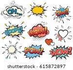 set of vector pop art signs and ... | Shutterstock .eps vector #615872897
