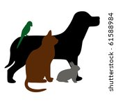 Stock photo illustration of dog cat bird and rabbit 61588984