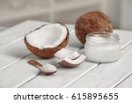 fresh coconut oil and nuts on