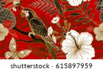 flowers and birds seamless... | Shutterstock .eps vector #615897959