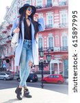 outdoor fashion portrait of... | Shutterstock . vector #615897995