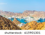 aerial view of the muttrah port ... | Shutterstock . vector #615901301