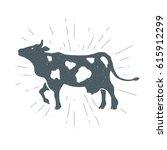 Stock vector hand drawn vintage cow calf vector illustration t shirt print poster 615912299