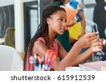 african woman in workshop as... | Shutterstock . vector #615912539