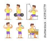 strong man cartoon. body... | Shutterstock .eps vector #615912779