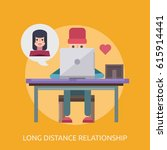 long distance relationship... | Shutterstock .eps vector #615914441
