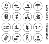 set of 16 beach filled icons... | Shutterstock .eps vector #615915095