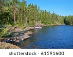 wood bank of the ladoga lake | Shutterstock . vector #61591600