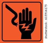 electrical hazard warning sign. ... | Shutterstock .eps vector #615916175