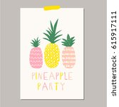 poster with cute pineapples | Shutterstock .eps vector #615917111