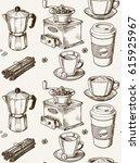 hand drawn coffee seamless... | Shutterstock .eps vector #615925967