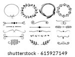 set of hand drawn wreaths and... | Shutterstock .eps vector #615927149