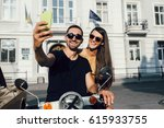 cute couple make selfie on a... | Shutterstock . vector #615933755