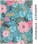 vector seamless pattern flowers ... | Shutterstock .eps vector #615936899