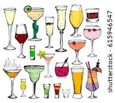 cocktails   set of 20 color... | Shutterstock .eps vector #615946547