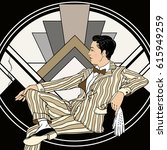 vintage man  retro party... | Shutterstock .eps vector #615949259