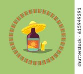 tequila icon. mexican poster... | Shutterstock .eps vector #615949391
