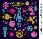 cosmonautics  space  ufo... | Shutterstock .eps vector #615952559