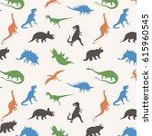 pattern dinosaur silhouette ...   Shutterstock .eps vector #615960545