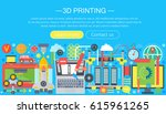3d printer technology flat... | Shutterstock .eps vector #615961265