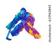 player hockey goalie | Shutterstock .eps vector #615963845