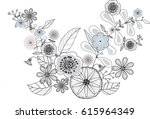 flower doodle drawing freehand... | Shutterstock .eps vector #615964349