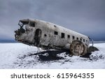 old aircraft in iceland  ... | Shutterstock . vector #615964355