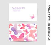 Stock vector visiting card vector template with pink watercolor butterflies 615969827