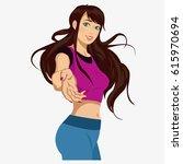 beautiful girl in sportswear.... | Shutterstock .eps vector #615970694