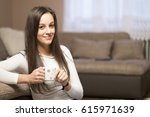 woman with coffee | Shutterstock . vector #615971639
