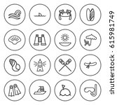 set of 16 sea outline icons... | Shutterstock .eps vector #615981749