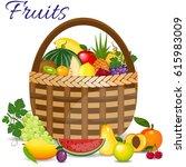 fresh fruits organic food set... | Shutterstock .eps vector #615983009