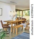 interior design of dining room... | Shutterstock . vector #615984671