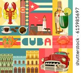 welcome to cuba  travel poster...   Shutterstock .eps vector #615985697