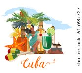 welcome to cuba  travel poster... | Shutterstock .eps vector #615985727