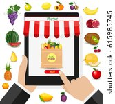 online food shopping ... | Shutterstock .eps vector #615985745