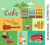 welcome to cuba  travel poster... | Shutterstock .eps vector #615985751