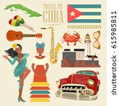 welcome to cuba  travel poster... | Shutterstock .eps vector #615985811