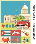 welcome to cuba  travel poster... | Shutterstock .eps vector #615985889