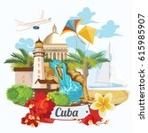welcome to cuba  travel poster... | Shutterstock .eps vector #615985907