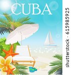 welcome to cuba  travel poster... | Shutterstock .eps vector #615985925