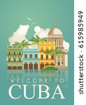welcome to cuba  travel poster... | Shutterstock .eps vector #615985949